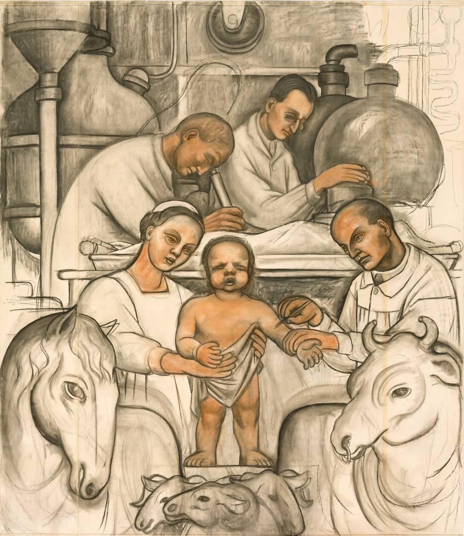 Диего Ривера. Вакцинация, эскиз к фреске. 1932