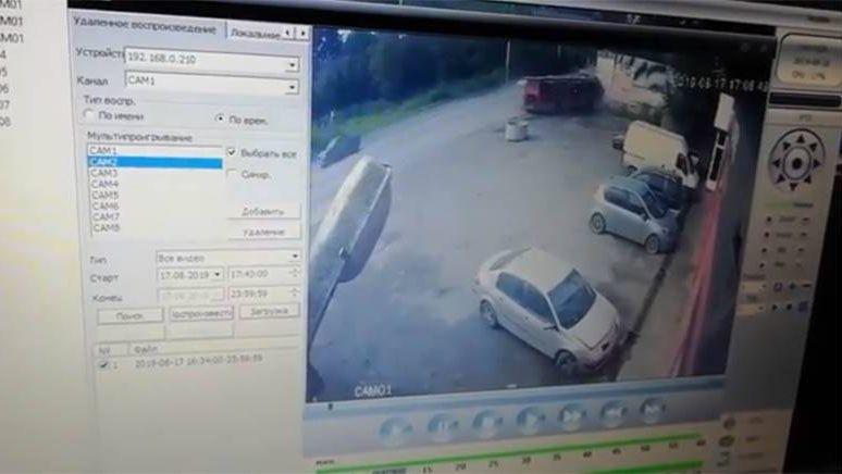 Скриншот видеозаписи аварии