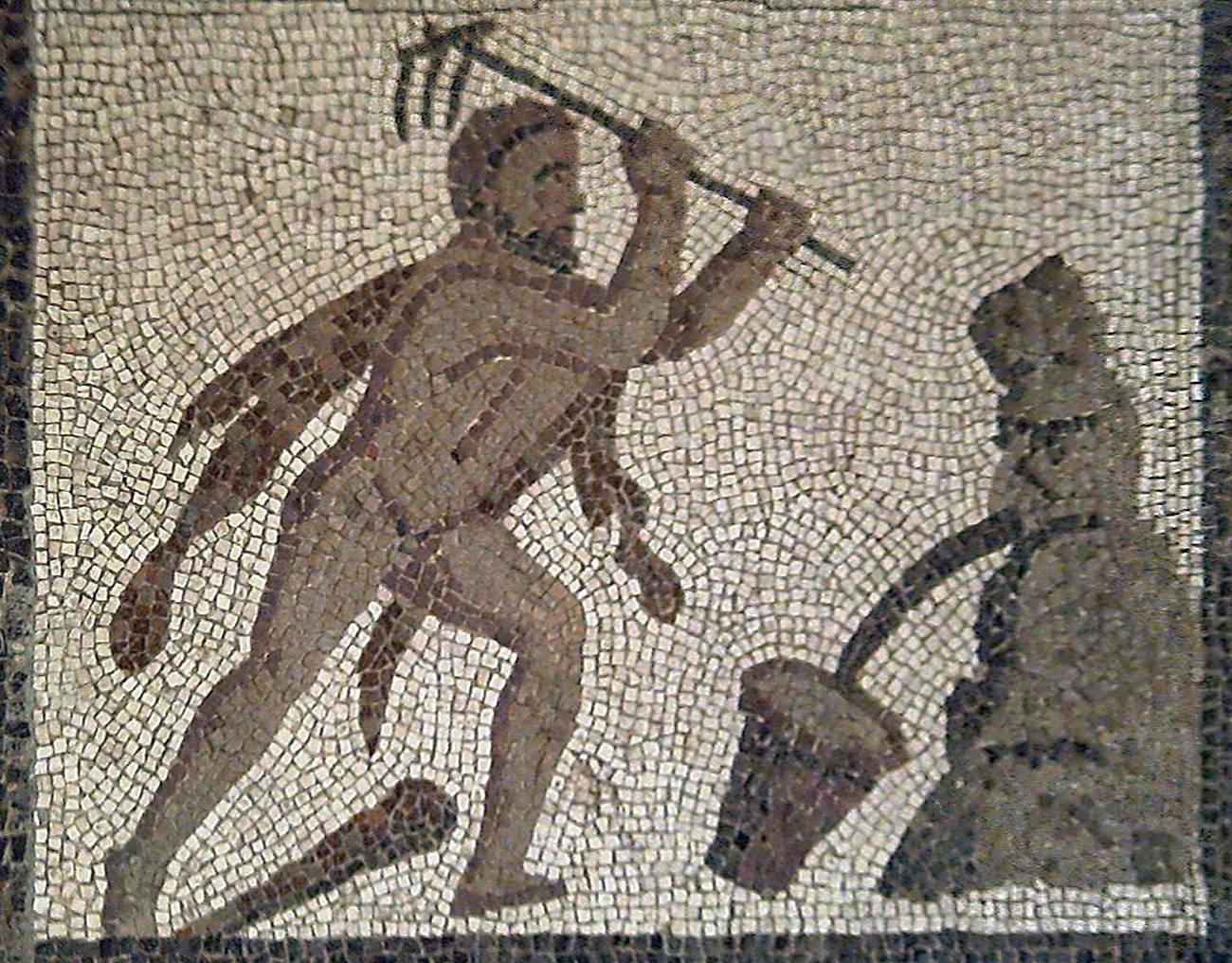Геракл, очищающий Авгиевы конюшни. Мозаика. 200 г. н.э.