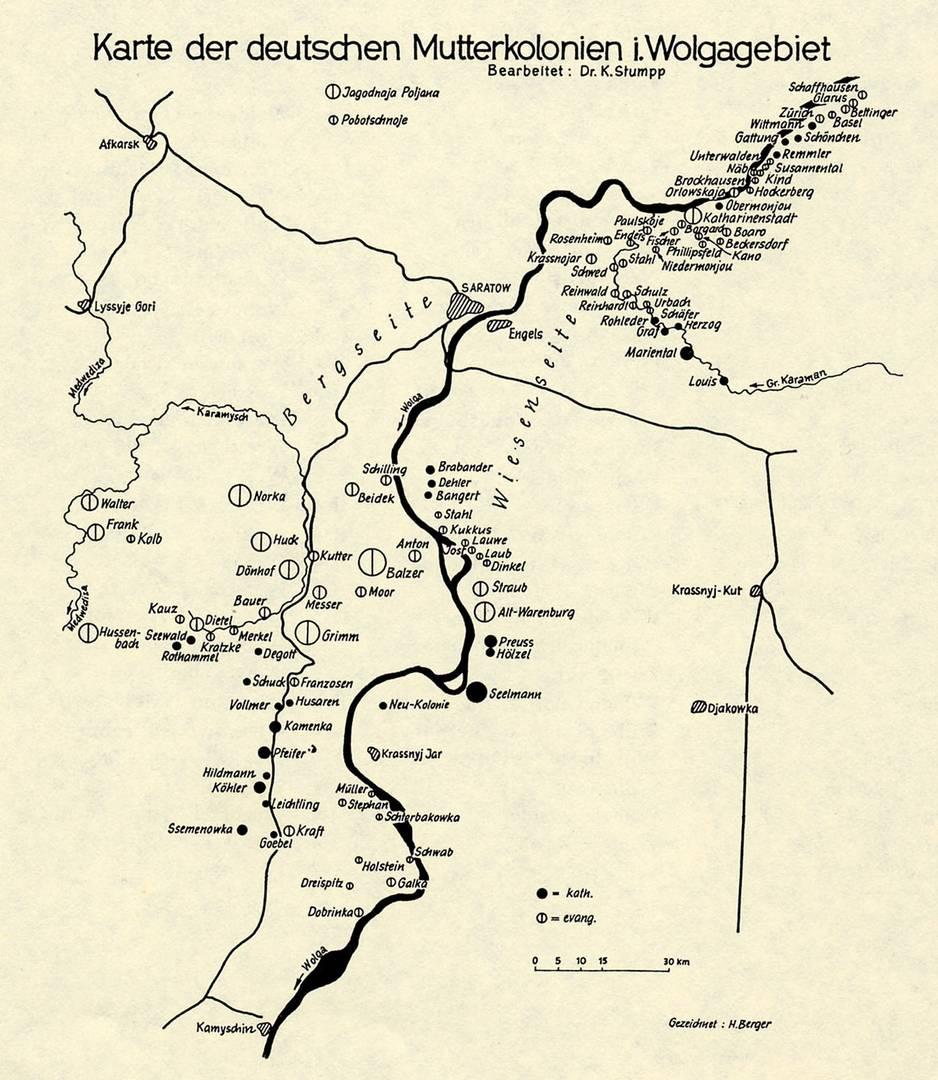 Карта немецких колоний на Волге