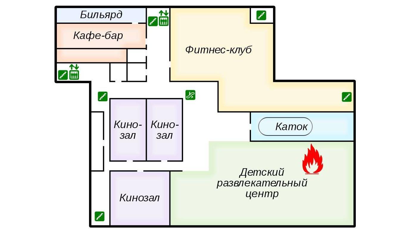 Схема этажа торгового центра, где произошёл пожар.