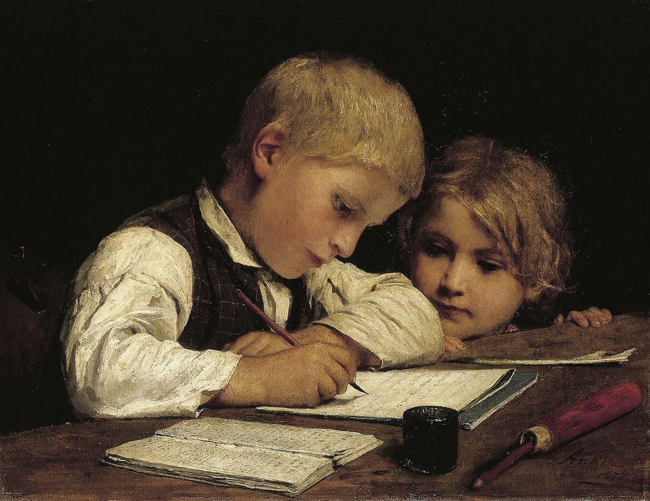 Пишущий мальчик с сестрой