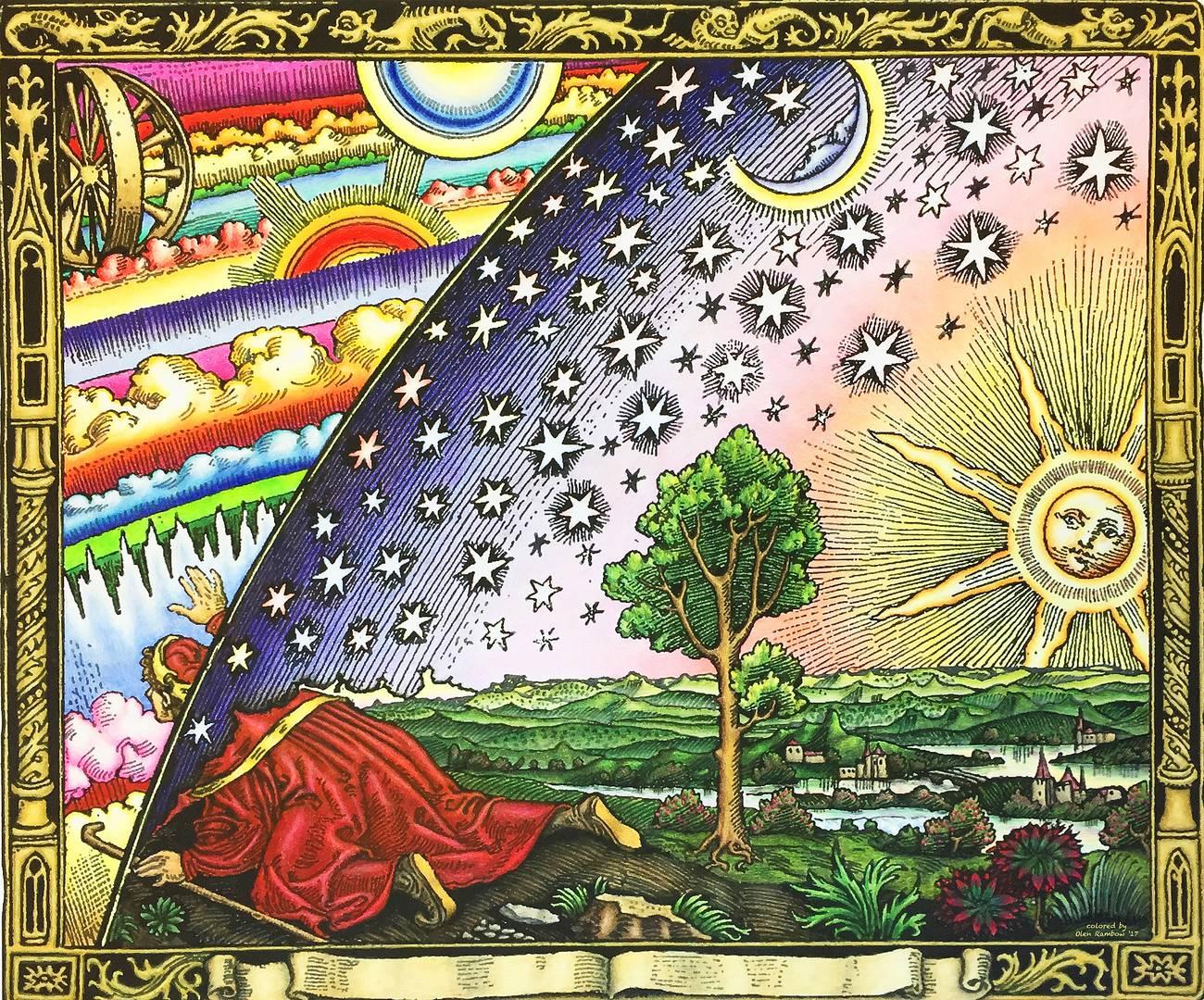 Гравюра Фламмариона. Подпись: «Миссионер средневековья рассказывает, что нашёл точку, где небо касается Земли». 1888