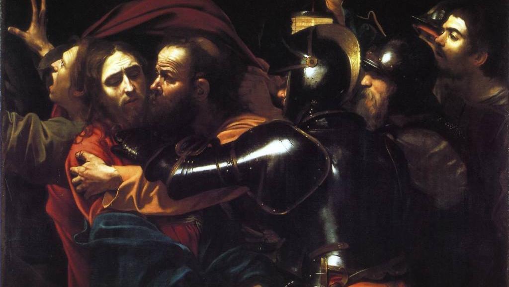 Караваджо. Взятие Христа под стражу.  Поцелуй Иуды. 1602