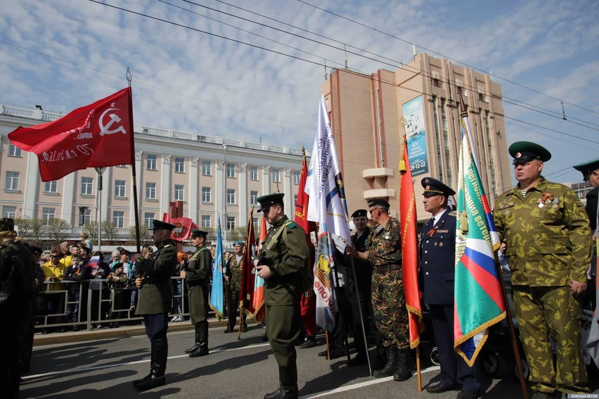 Барнаул. Ветераны военных конфликтов на шествии «Бессмертного полка»