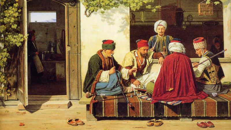 Игроки в шахматы в турецкой кофейне(фрагмент)
