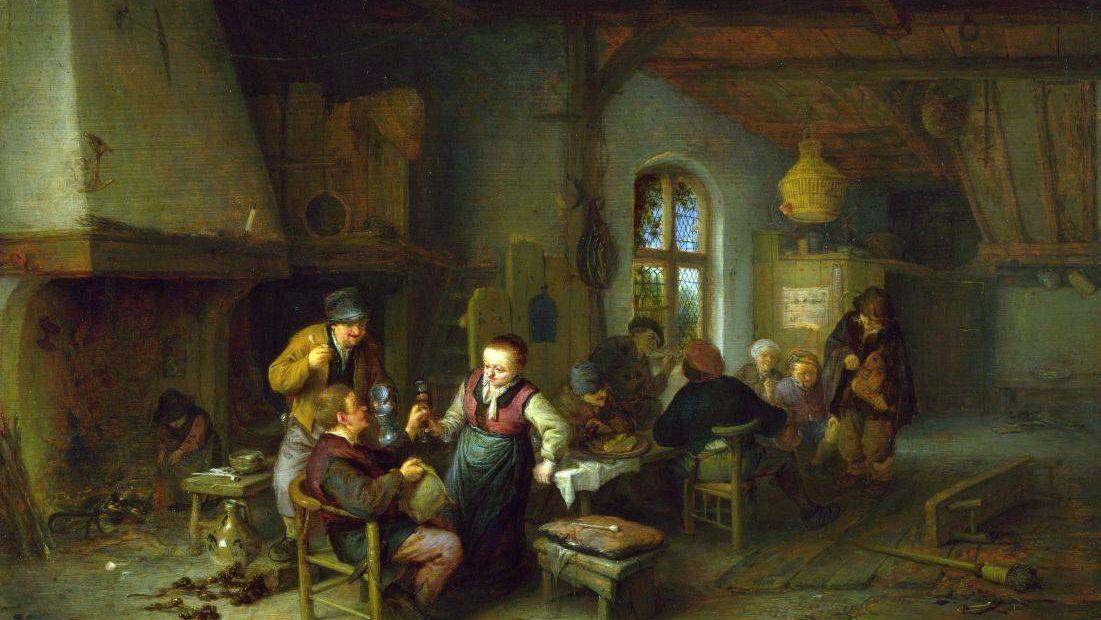 Адриан ван Остаде. Интерьер гостиницы (фрагмент)