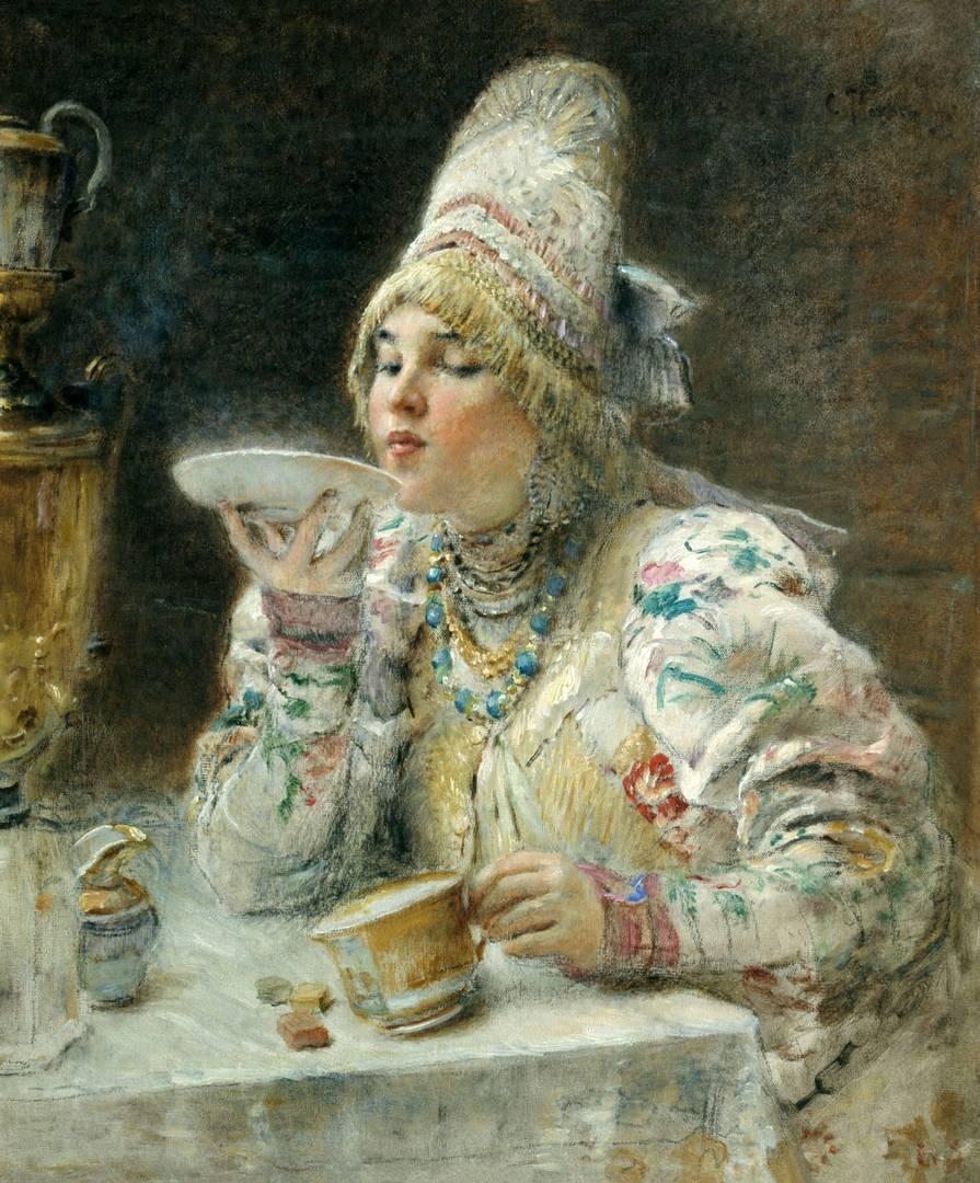 Константин Маковский. За чаем. 1914