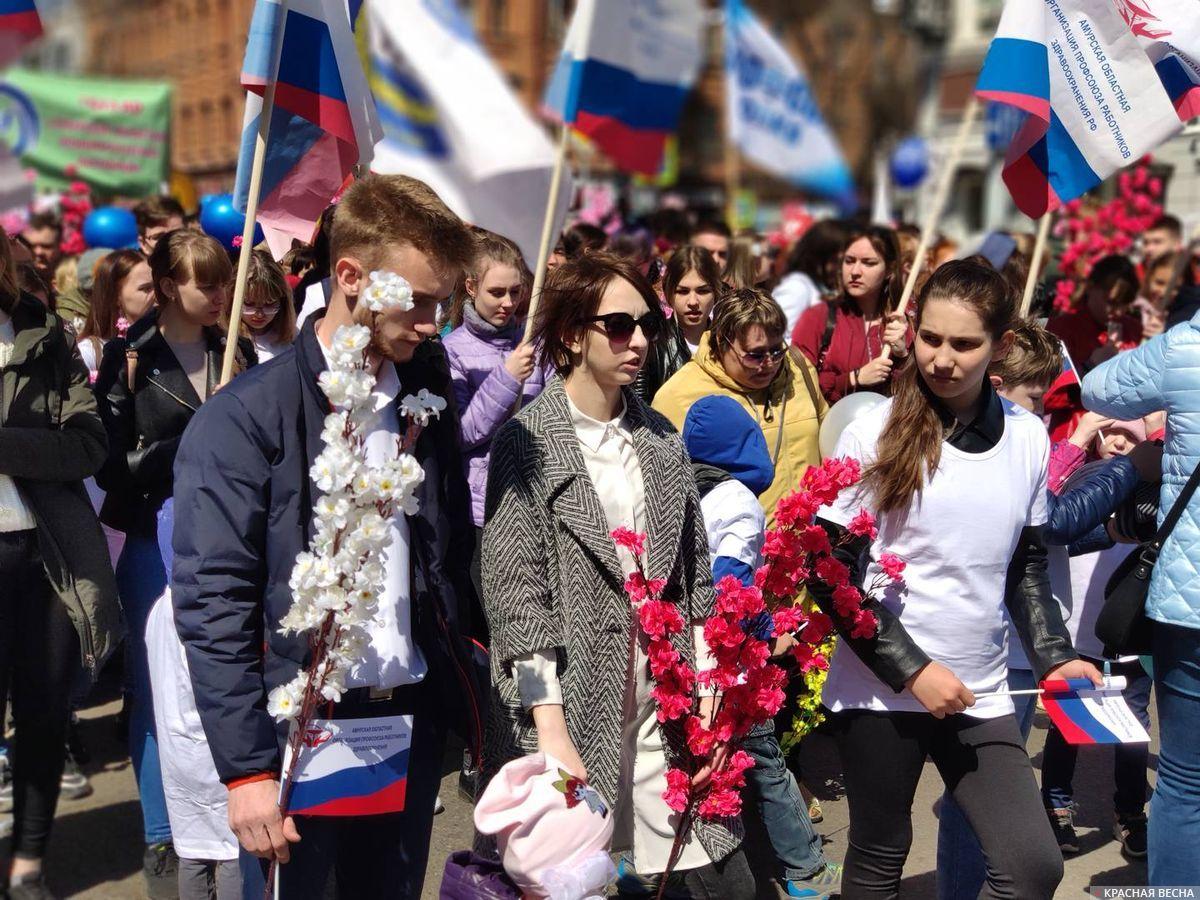 Первомайская колонна профсоюзов, предприятий и общественных организаций. Благовещенск