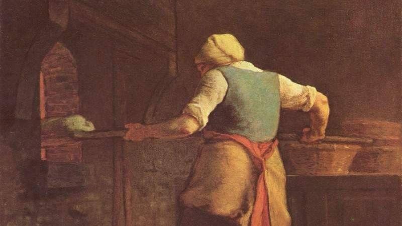 Жан-Франсуа Милле. Женщина печет хлеб (фрагмент). 1854