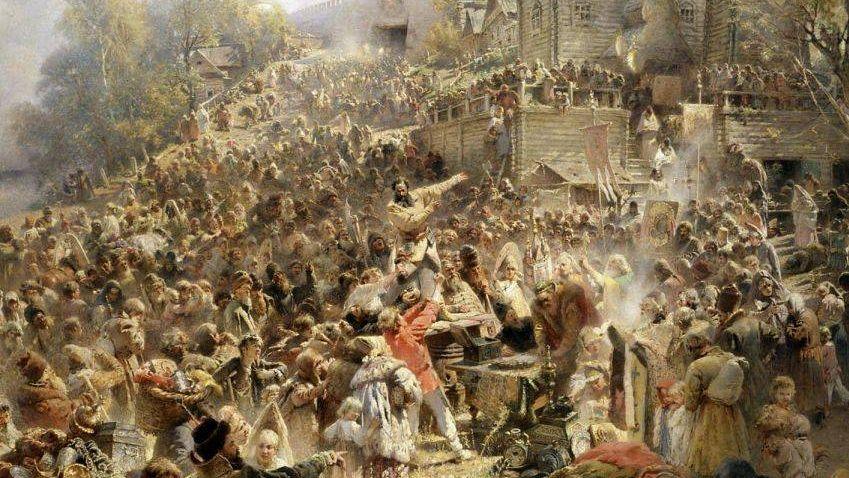 Константин Маковский. Минин на площади Нижнего Новгорода, призывающий народ к пожертвованиям. 1896