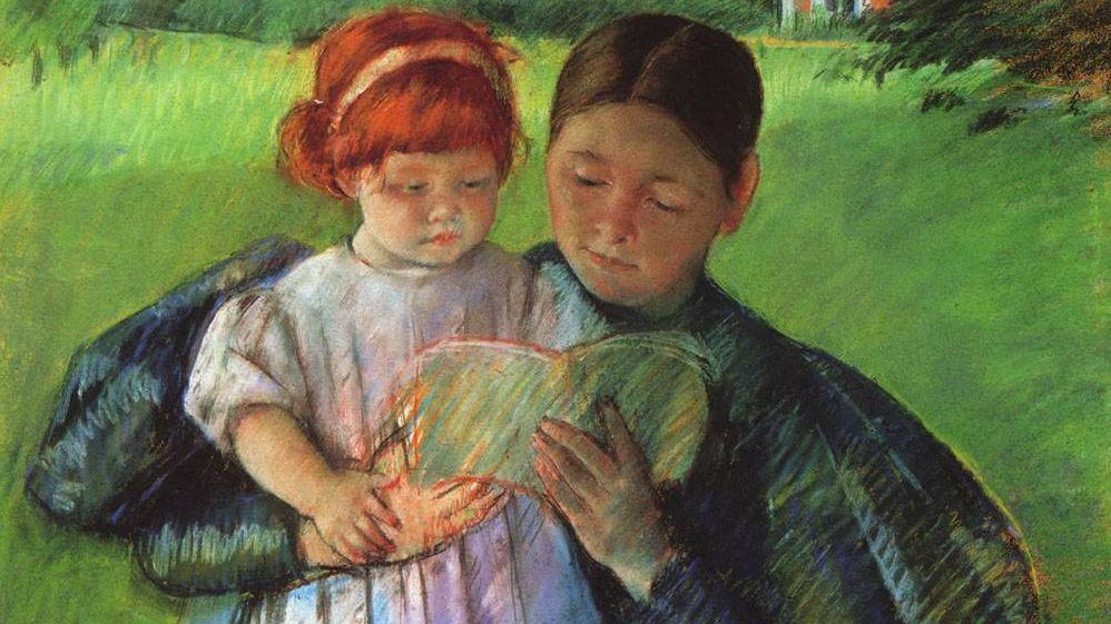 Мэри Стивенсон Кэссетт. Няня читает девочке. Фрагмент. 1895