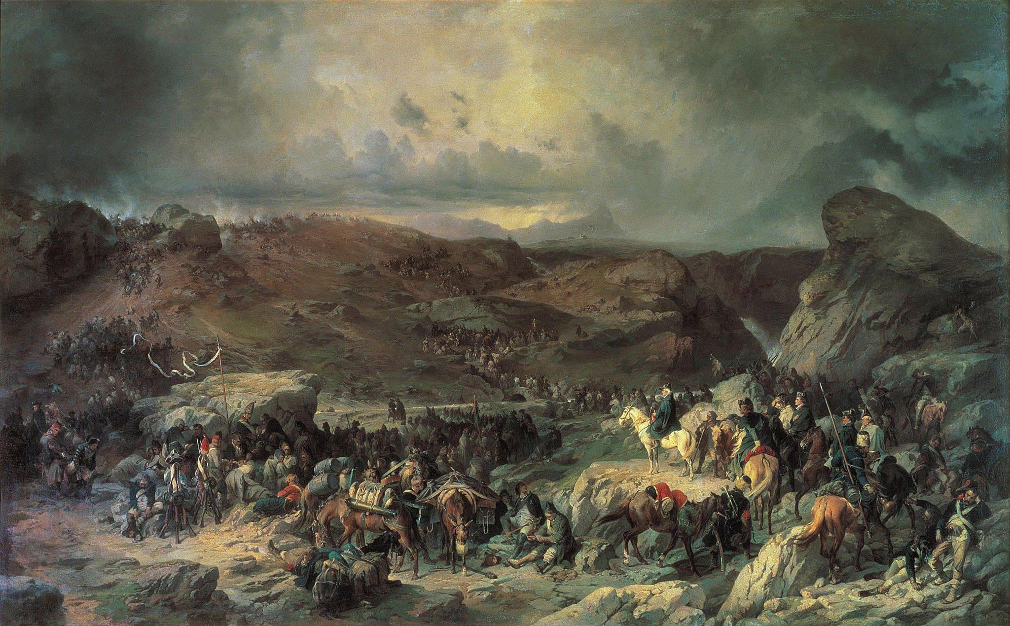 Александр Коцебу. Переход войск Суворова через Сен-Готард в 1799 году. 1858