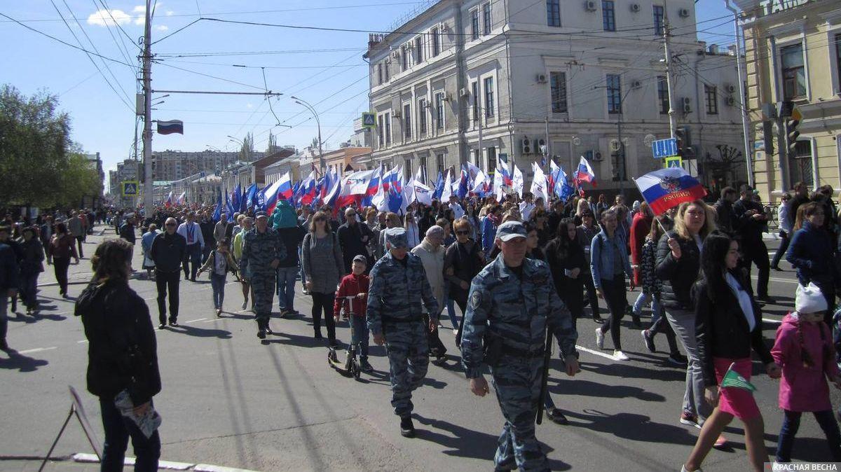 Первомайское шествие под охраной. Тамбов. 01.05.2019