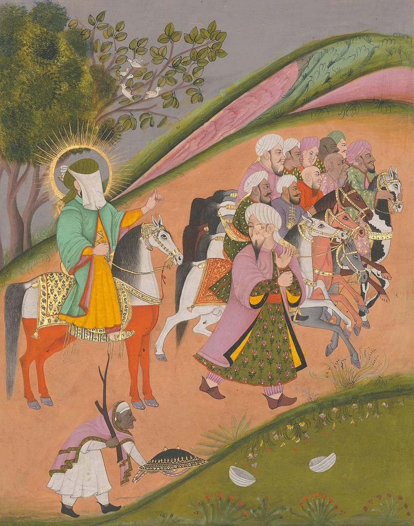 Мухаммед и его сподвижники перед боем. Ок. 1820