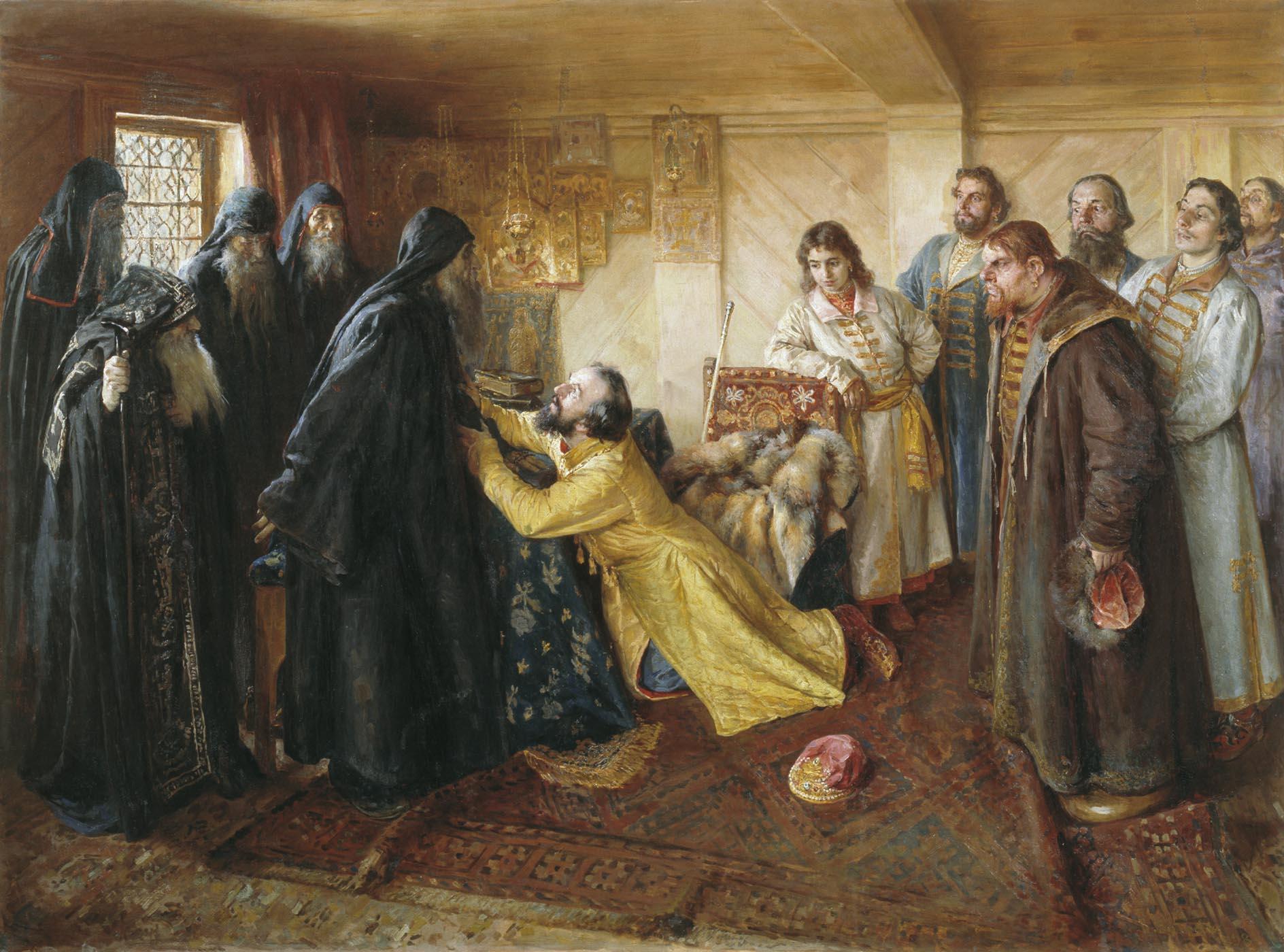 Лебедев Клавдий. Царь Иван Грозный просит игумена Корнилия постричь его в монахи.