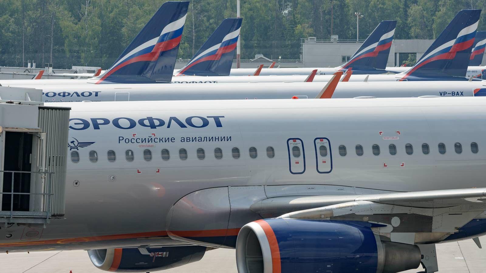 Самолеты авиакомпании Аэрофлот в аэропорту Шереметьево.