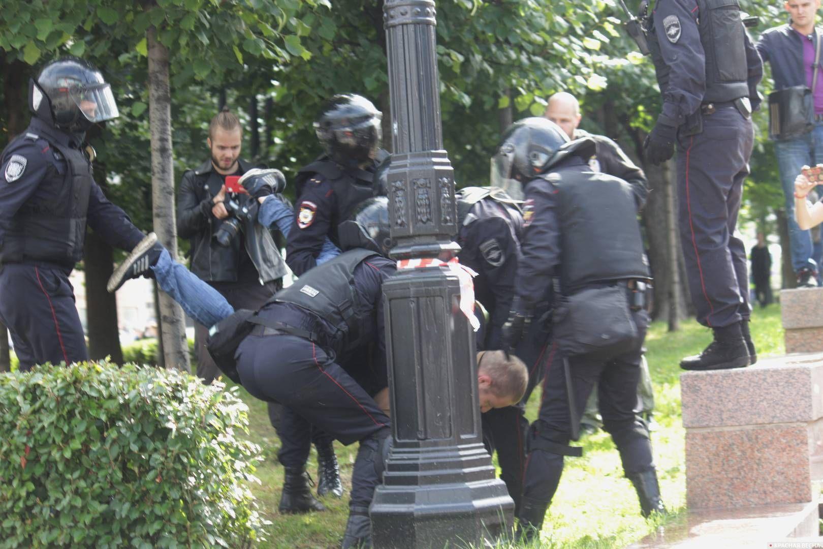Протестующего отрывают от земли