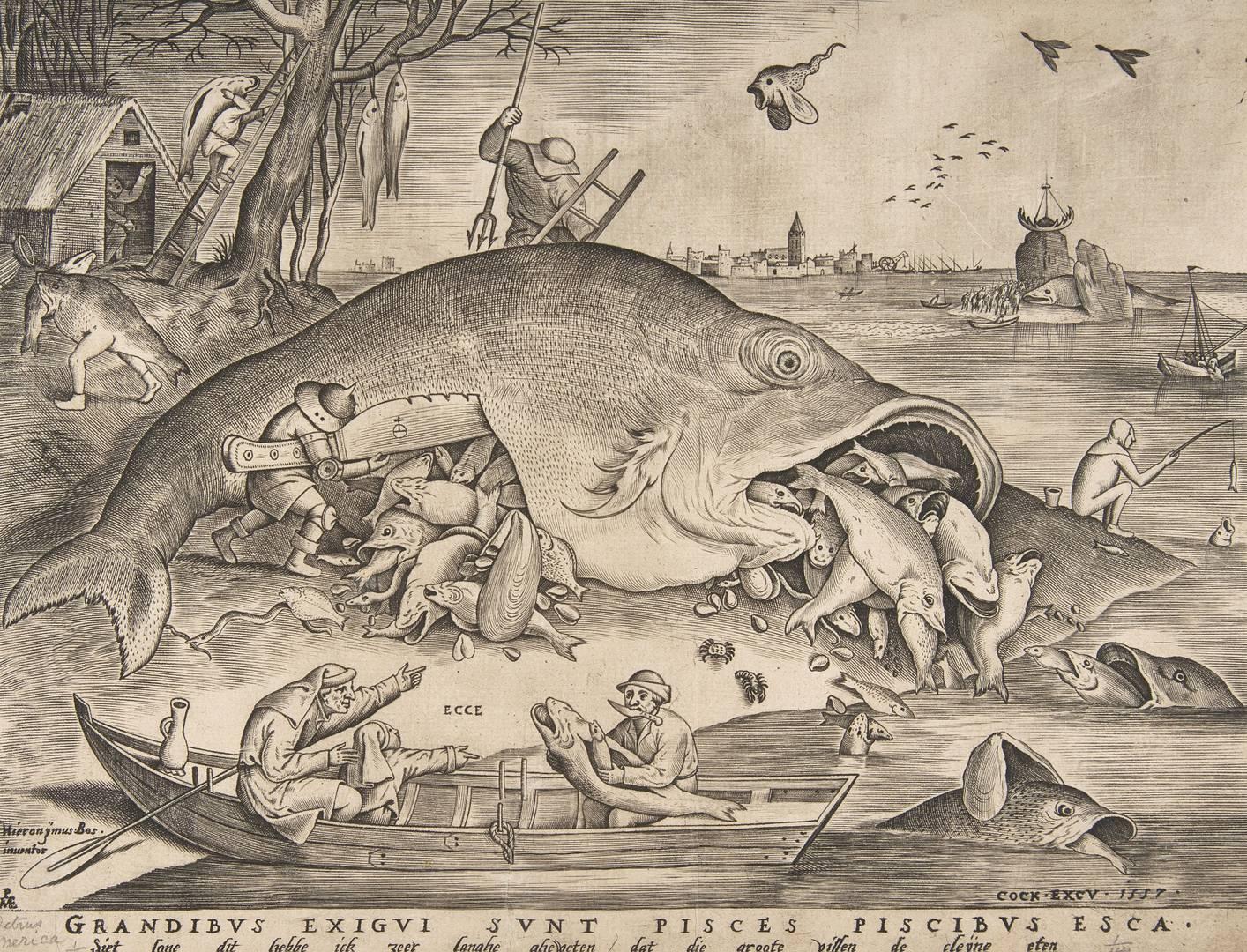 Питер Ван дер Хейден после Питера Брейгеля Старшего. Большие рыбы пожирают маленьких. 1557