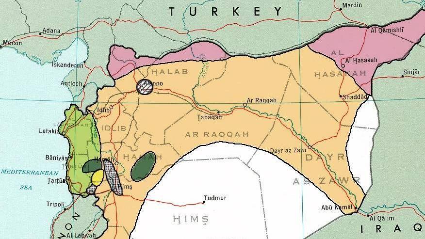 Территории Сирии, населённые курдами, выделены розовым
