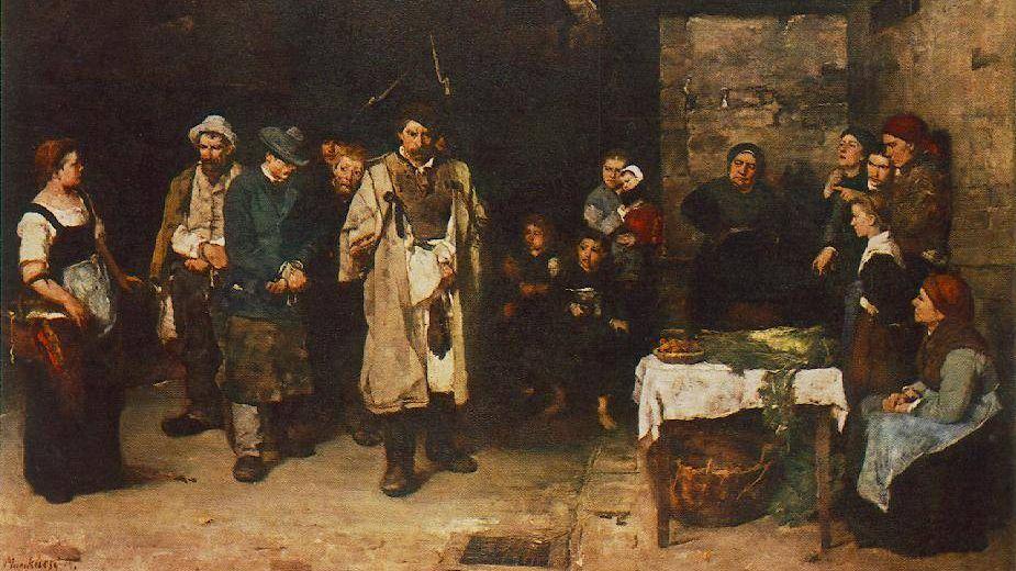 Мункачи Михай. Бродяги в ночи (фрагмент). 1873