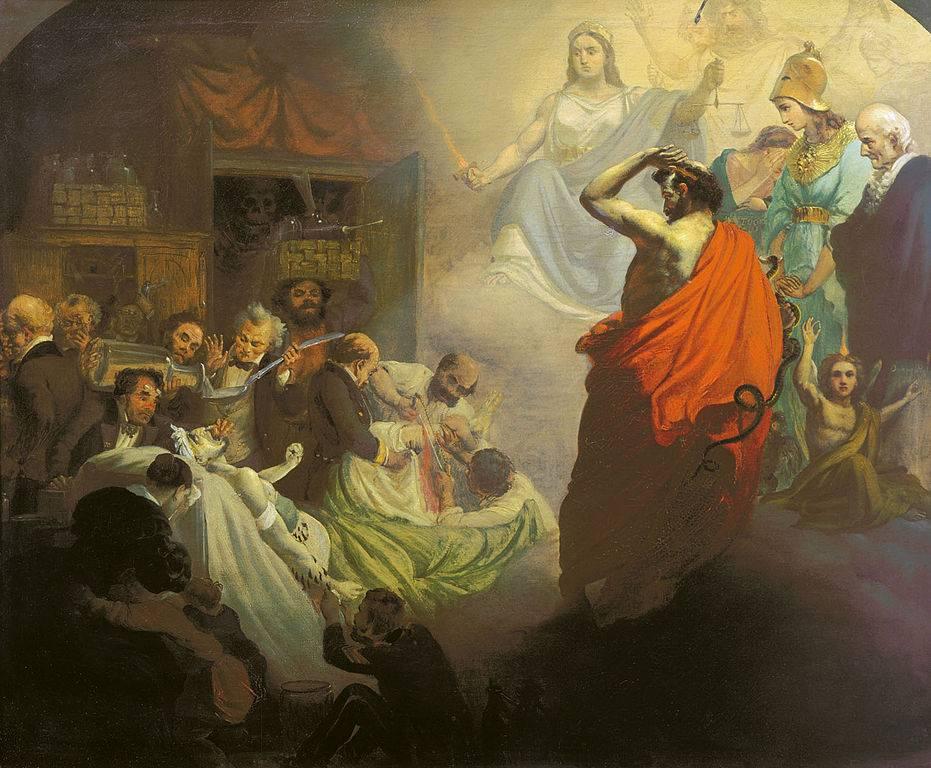 Александр Бейдеман. Гомеопатия, взирающая на ужасы Аллопатии. 1857