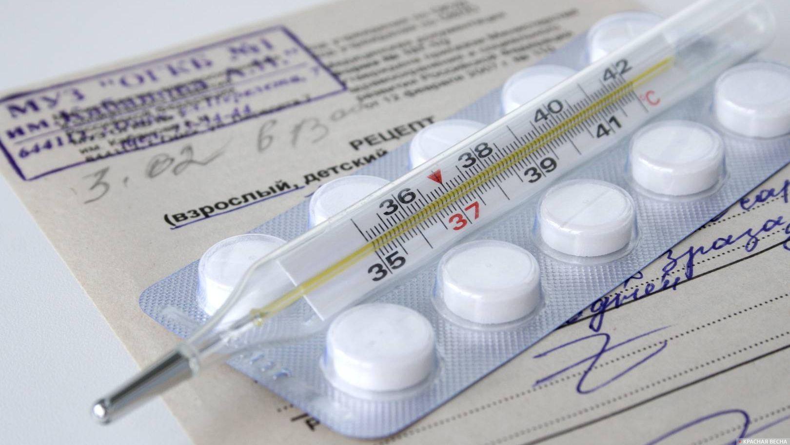 Термометр и таблетки на рецепте