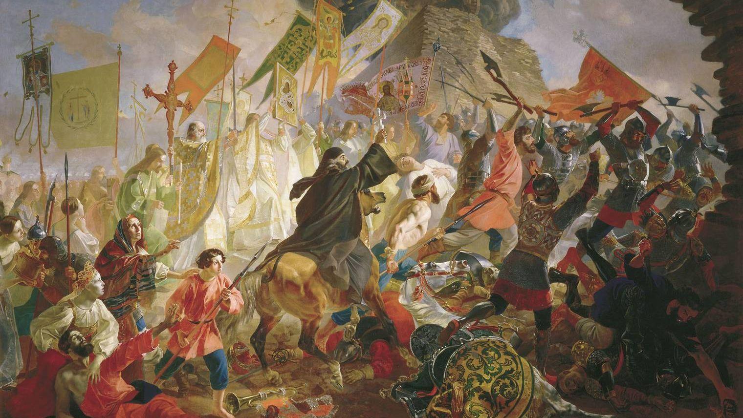 Брюллов Карл. Осада Пскова польским королём Стефаном Баторием в 1581 году. 1843