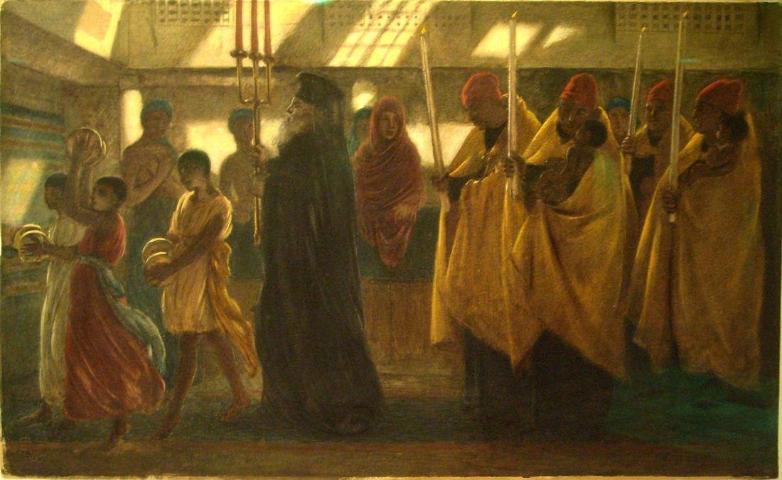 Симеон Соломон.Коптское крестное шествие. Акварель.1865