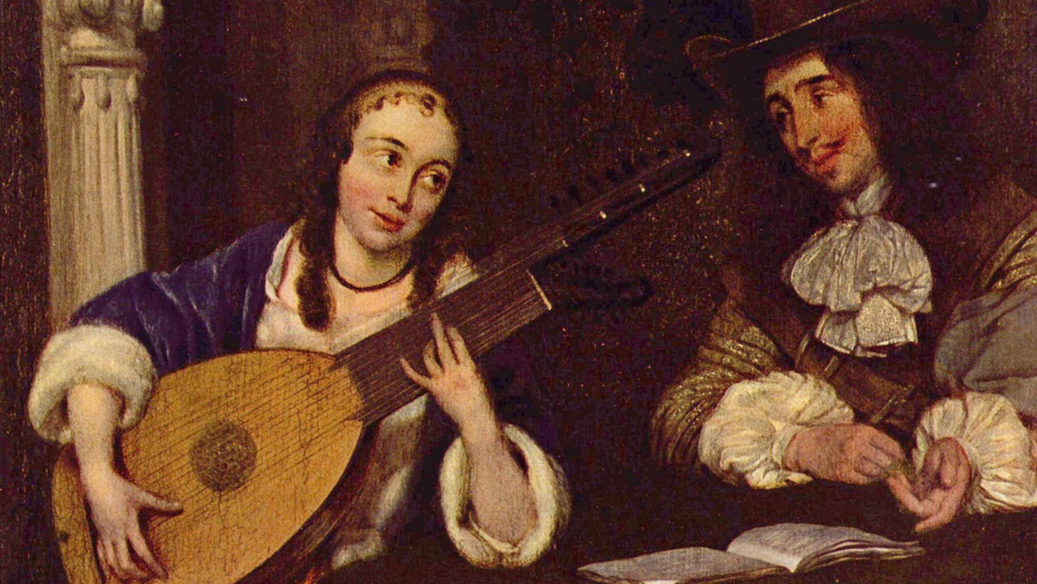 Герард Терборх Младший. Девушка, играющая на лютне. 1660 (фрагмент)