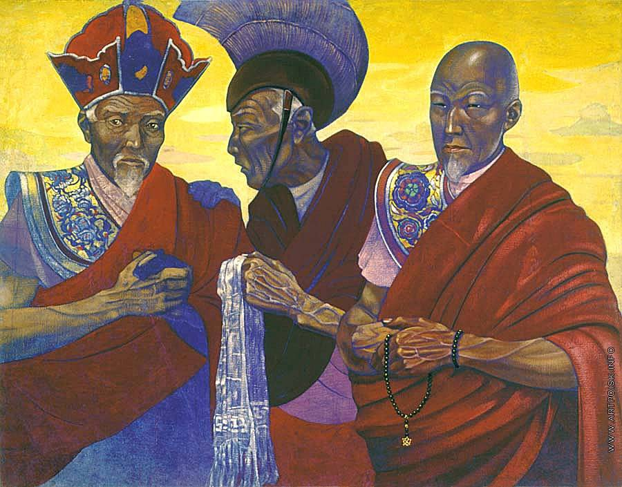 Святослав Рерих. Ламы из секты «красных шапок». 1924-1925