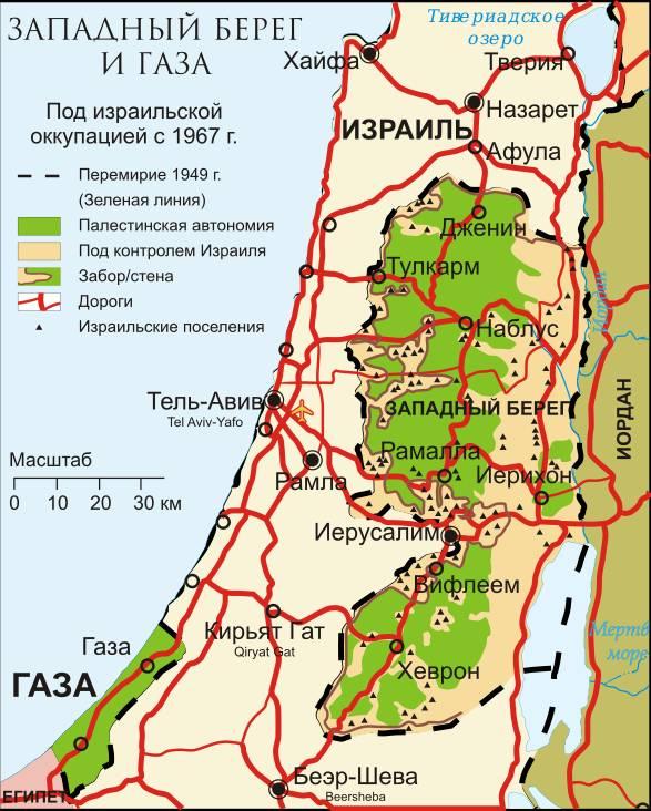 Карта оккупированных палестинских территорий, 2007 год.
