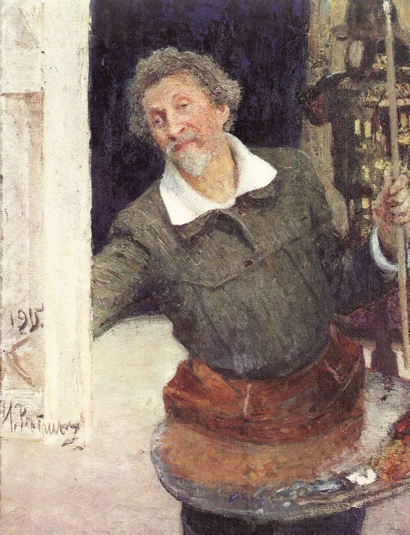 Илья Репин. Автопортрет за работой. 1915