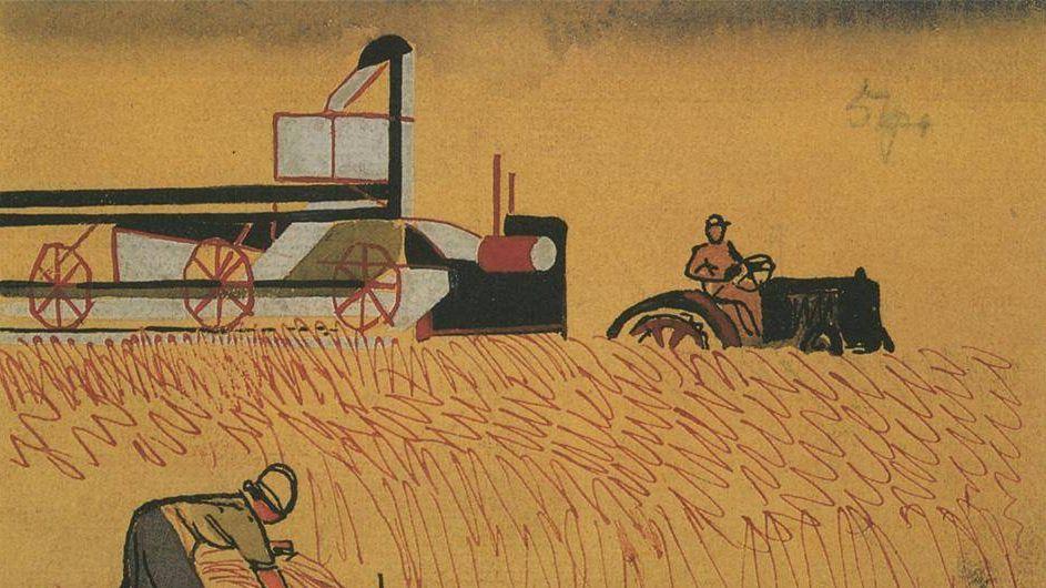 Александр Дейнека. Уборка поля серпом и комбайном. 1930