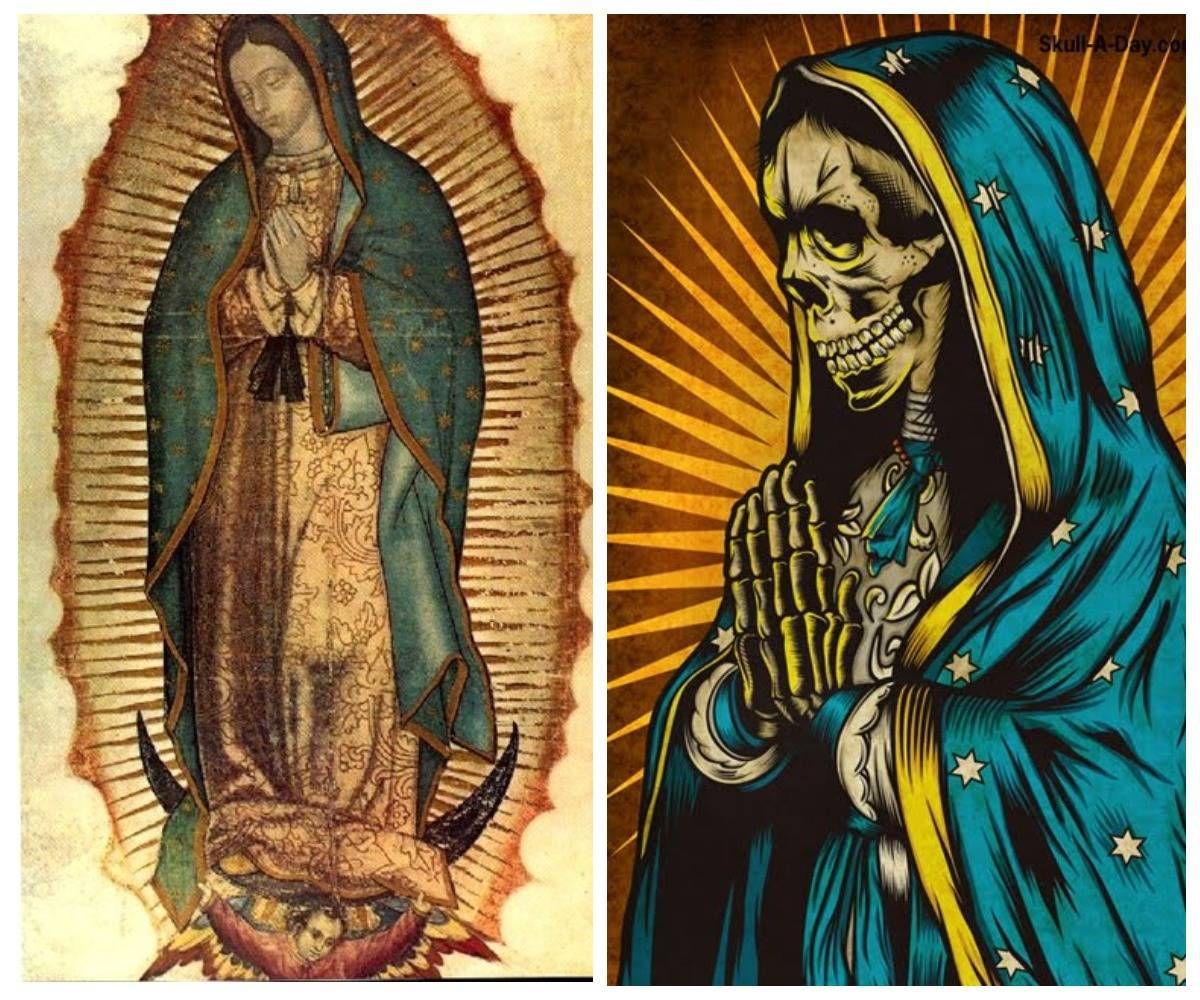 Дева Мария Гваделупская, покровительница Мексики (слева) и Санта Муэрте