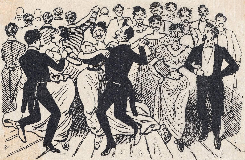 Хосе Гуадалупе Посада. Иллюстрация с листовки «41 гомосексуалист обнаруженные танцующими в Калле де ла Паз 20 ноября 1901 года». 1901