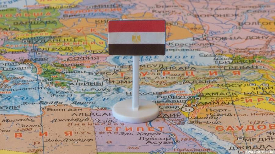 Египет с флагом на карте мира. 29.10.17