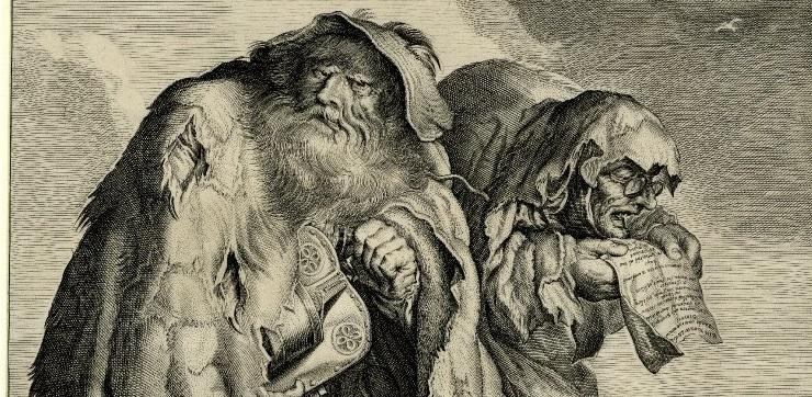 Нищие, гравюра, автор: Адриан ван де Венне (1589-1662) - фрагмент