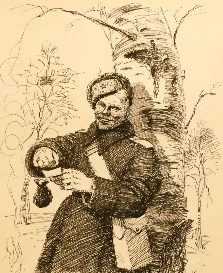 А. М. Каневский. На привале. Иллюстрация к поэме А. Т. Твардовского «Василий Тёркин». 1944