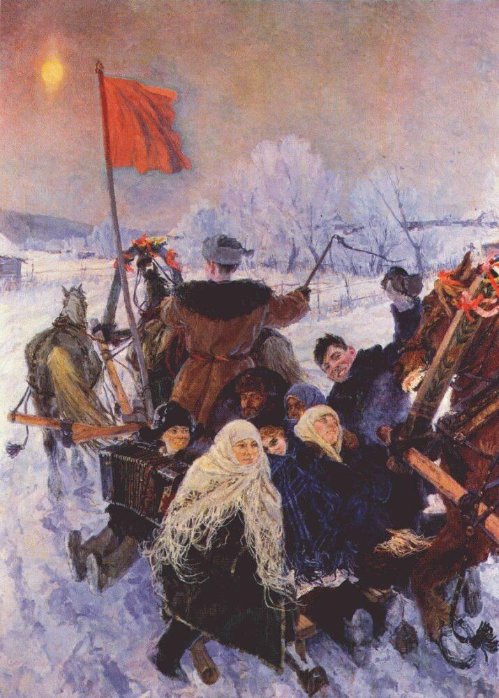 Аркадий Пластов. Едут на выборы. XX век.