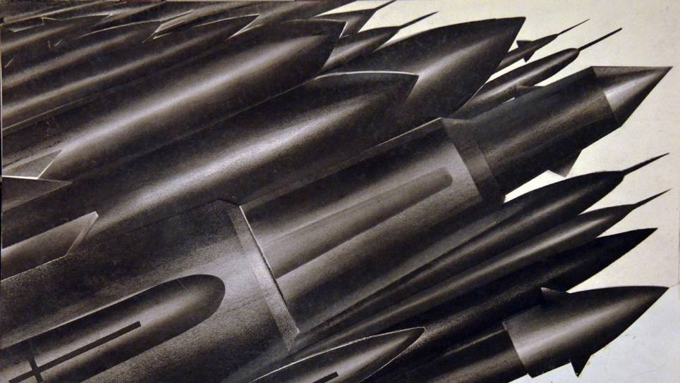 Фёдор Нелюбин. Плакат на тему гонки вооружений (фрагмент)