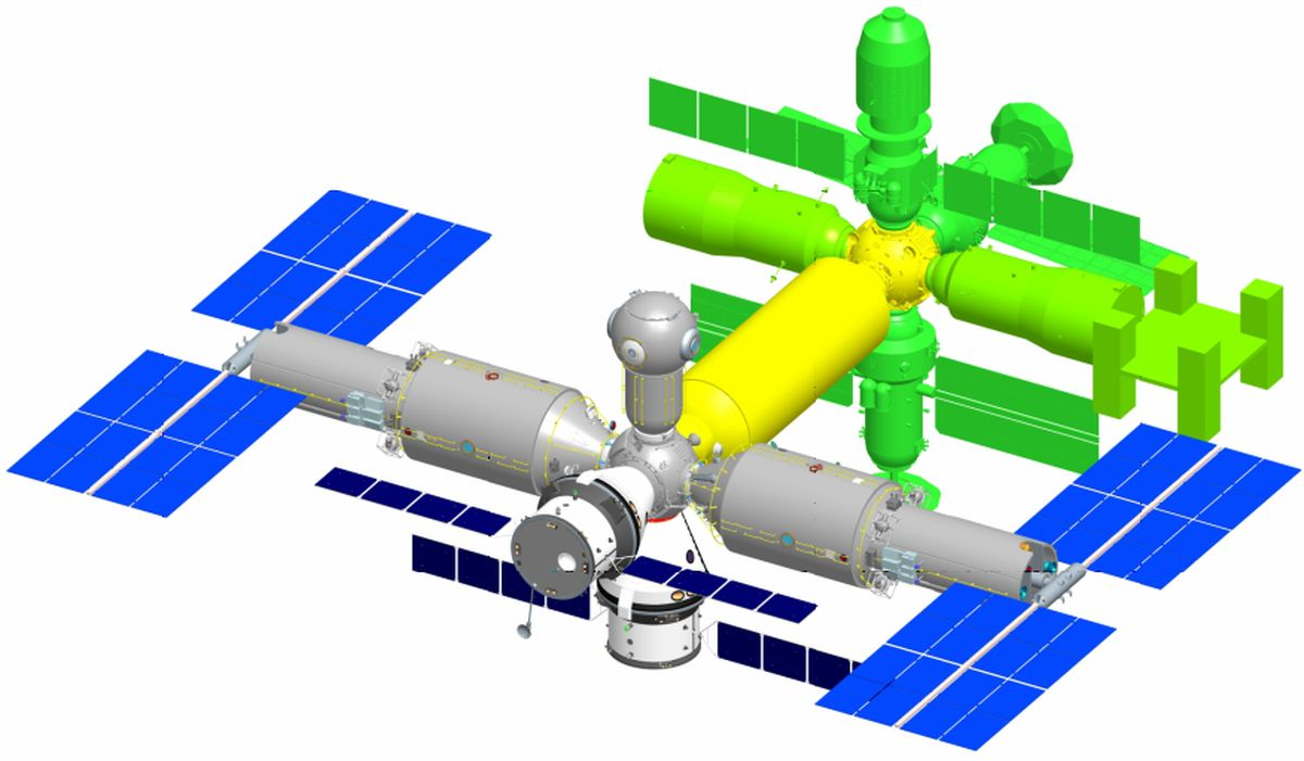 Рис. 8. Проект орбитального сборочно-эксплуатацион- ного комплекса (РКК «Энергия). Реконструкция