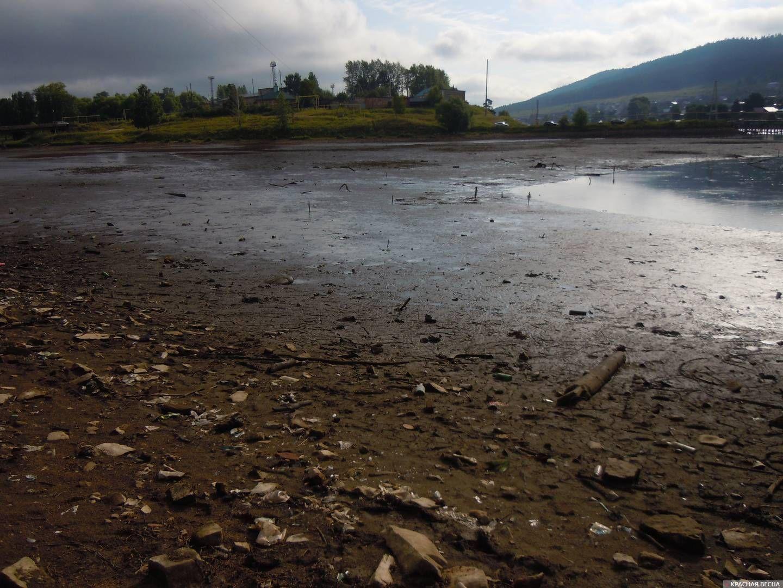 Кусинский городской пруд после спуска воды.