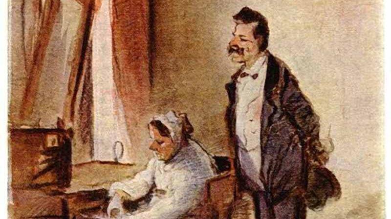 Пётр Шмельков. К маменьке за деньгами (фрагмент). XIX век