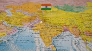 Индия с флагом на карте мира. 08.11.17