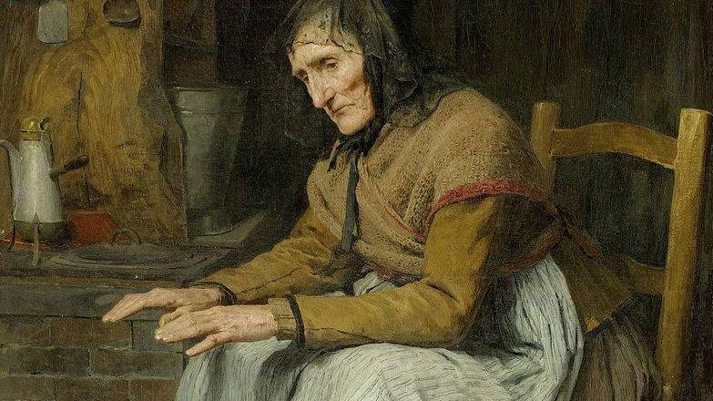 Альберт Анкер. Бабушка греется у очага. 1885