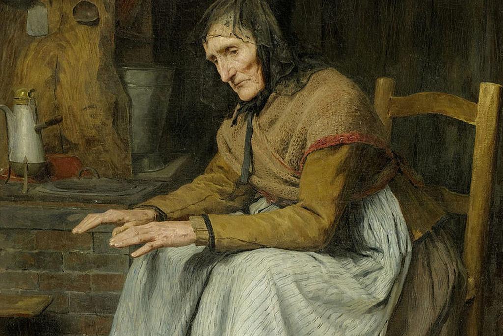 Альберт Анкер. Бабушка греется у очага (фрагмент). 1885