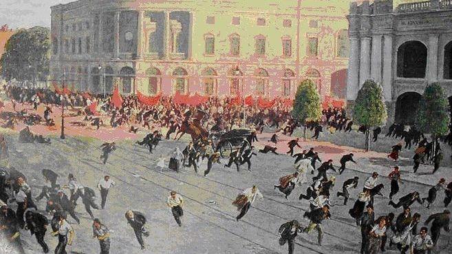 А.М. Любимов. Расстрел Июльской демонстрации в Петрограде в 1917 году.
