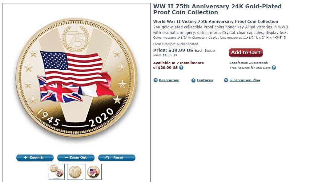 Монета в честь победителей Второй мировой войны