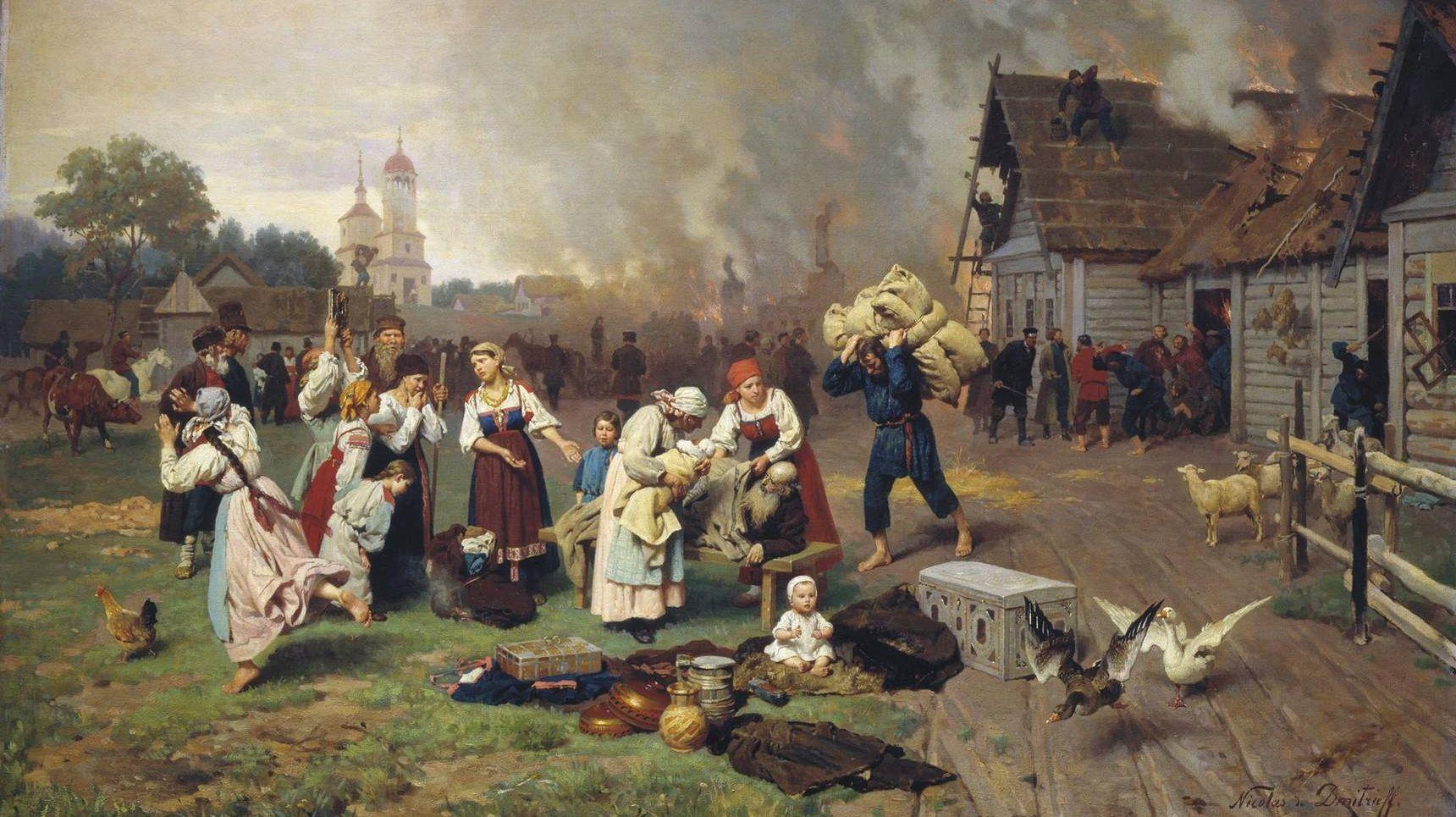 Дмитриев-Оренбургский Николай. Пожар в деревне